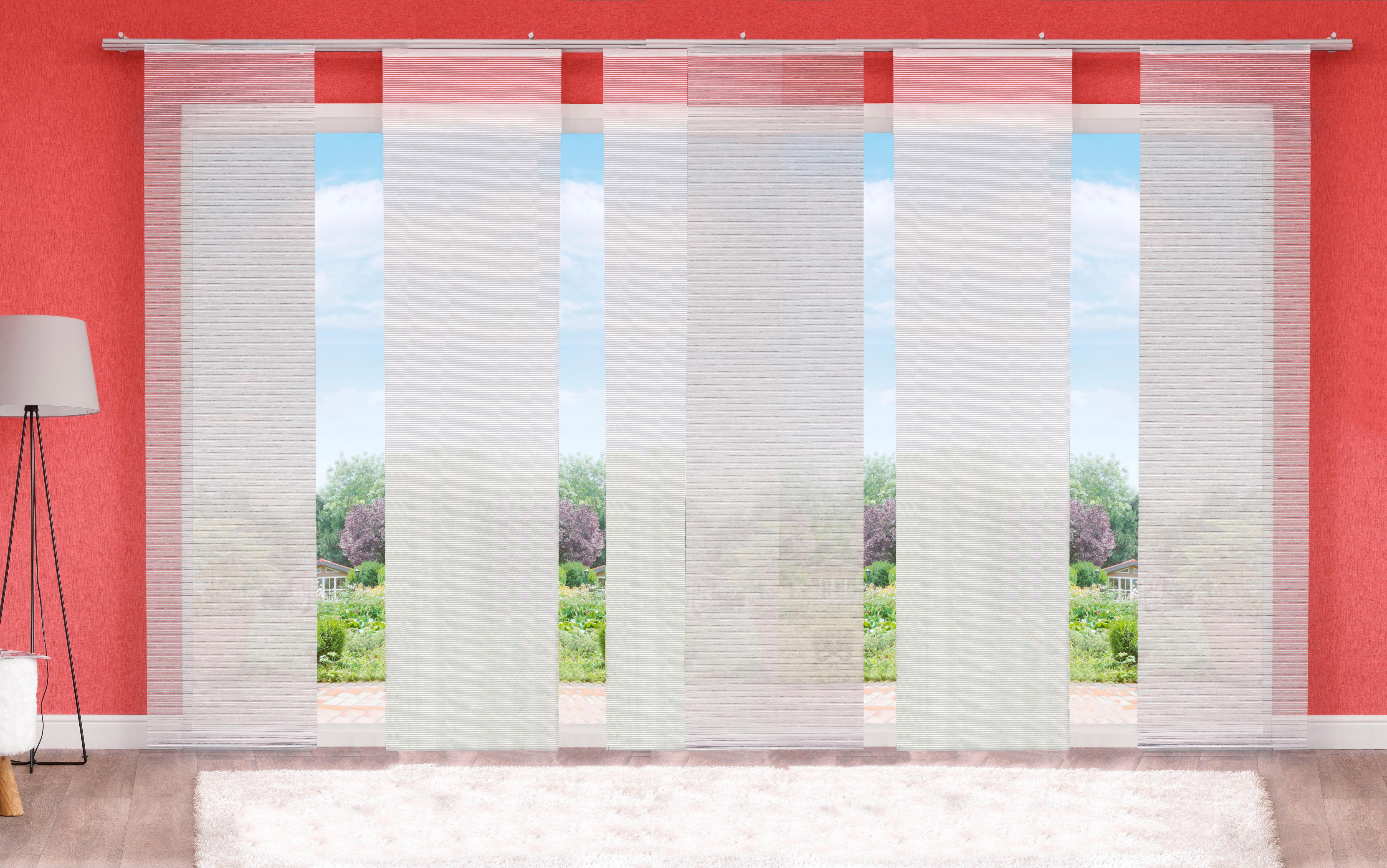 Schiebevorhang, Home Wohnideen, »IRMI«, mit Klettband, Mehrfachsets (mit Zubehör) | Heimtextilien > Gardinen und Vorhänge > Schiebegardinen und Schiebevorhänge | Aluminium | HOME WOHNIDEEN