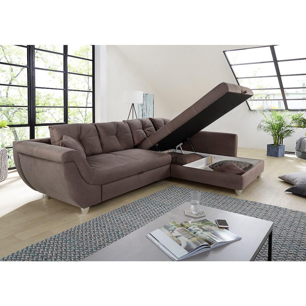 Jockenhöfer Gruppe Ecksofa, mit großem Stauraum, Gästebett- und Relaxfunktion, Nosagfederung