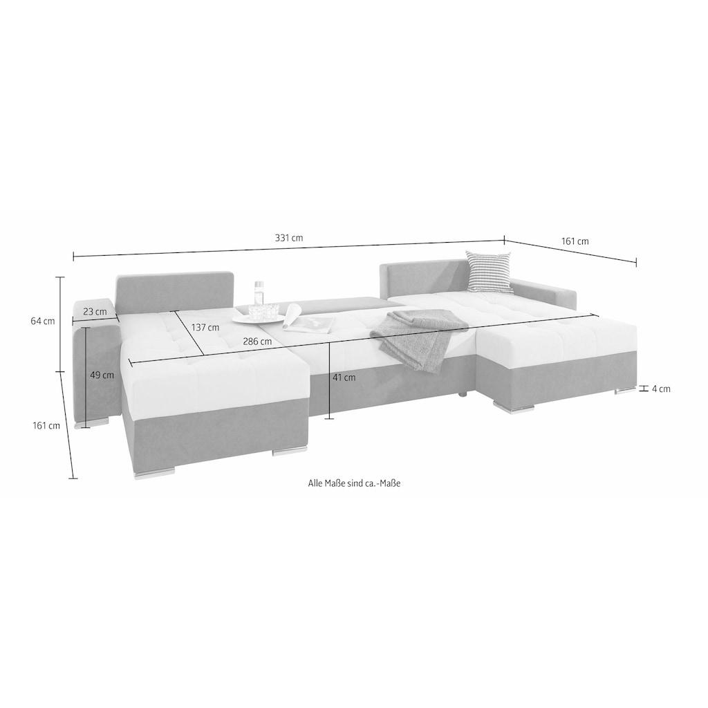 COLLECTION AB Wohnlandschaft, mit Bettfunktion, Bettkasten und links oder rechts montierbarer XXL-Recamiere, inklusive Federkern und Zierkissen