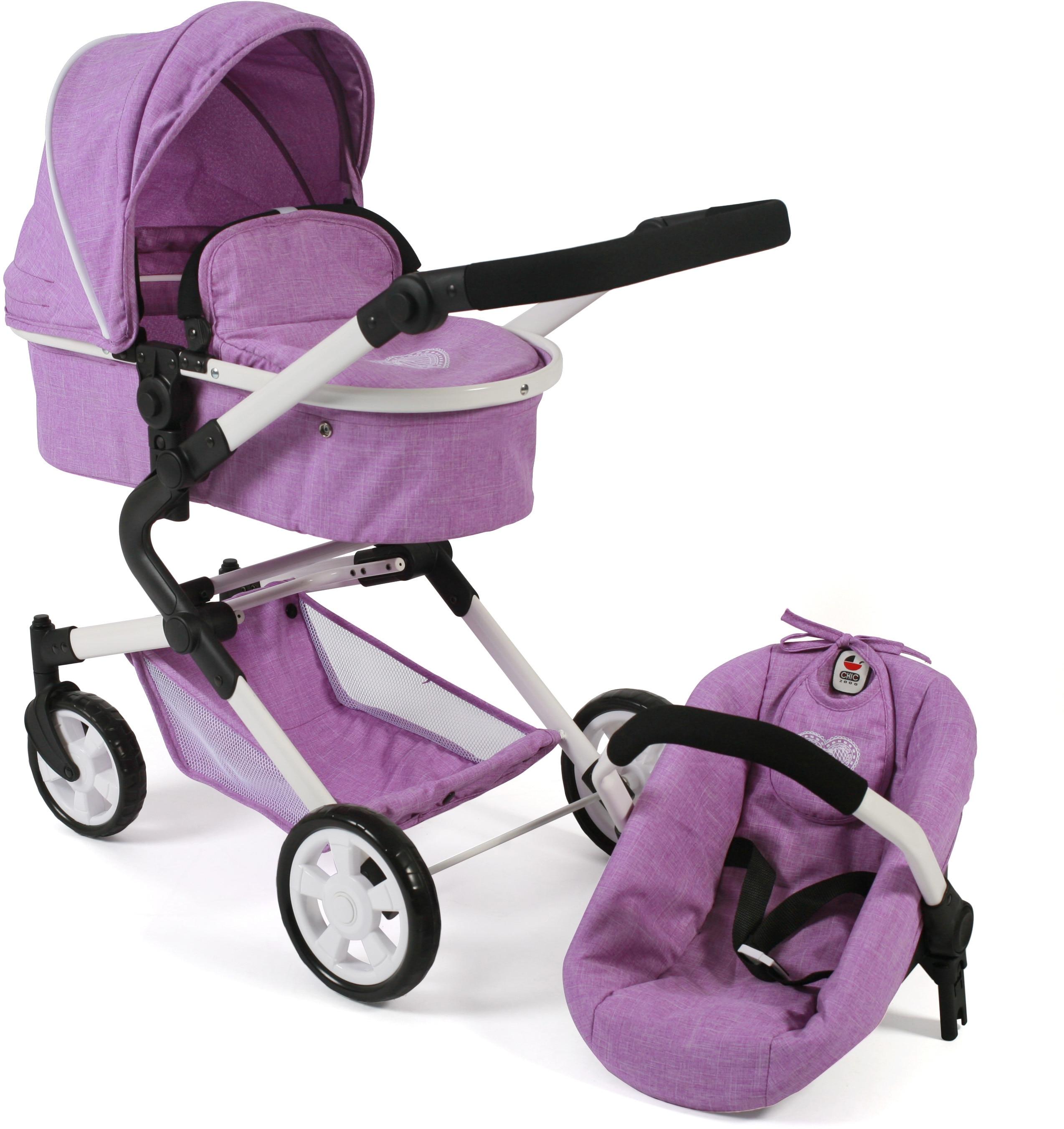 CHIC2000 Kombi-Puppenwagen Lia, flieder, mit Puppen-Autositz lila Kinder Puppenzubehör Puppen