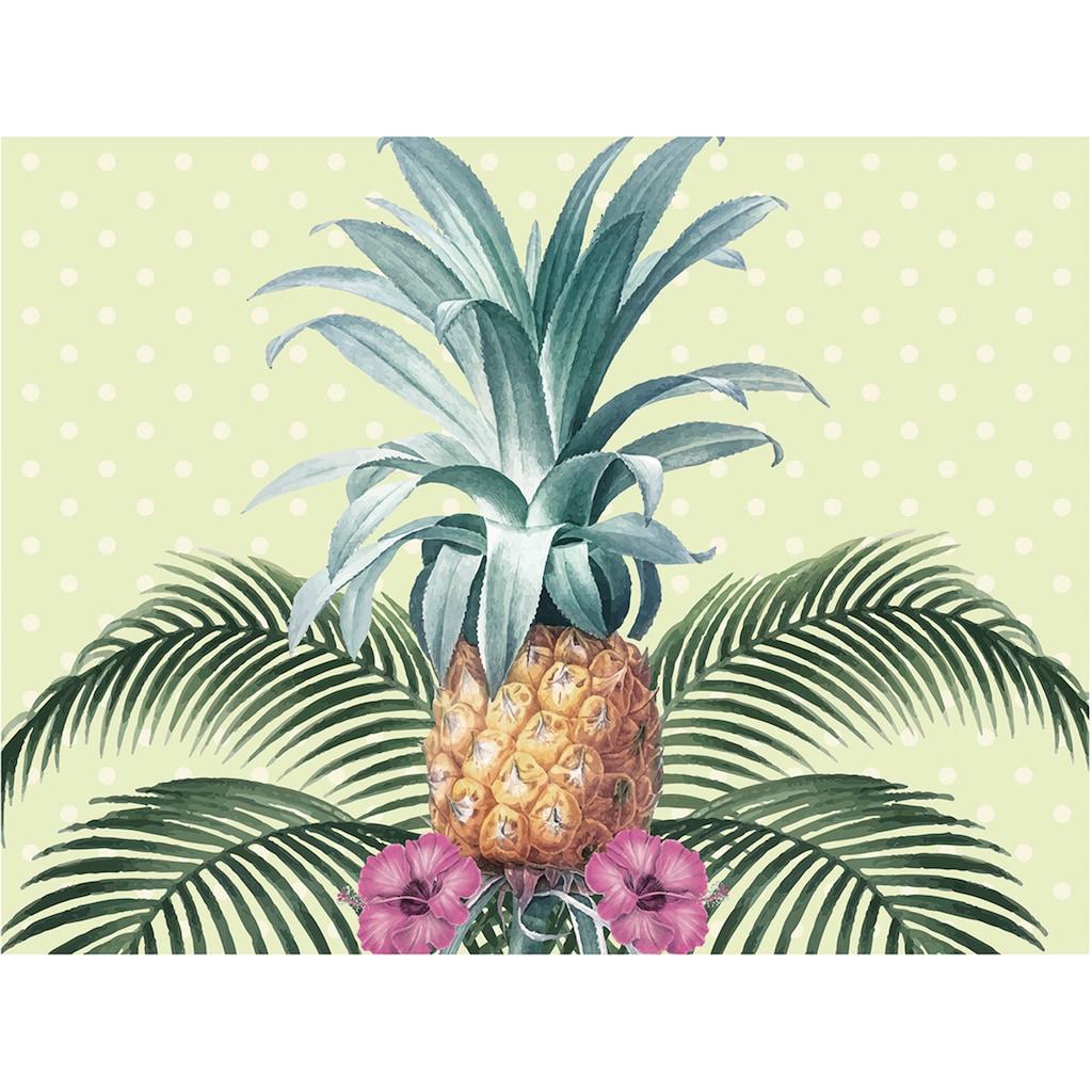 Contento Platzset »Colonial Pineapple«, (Set, 4 St.), für innen und außen geeignet, wasserabweisend