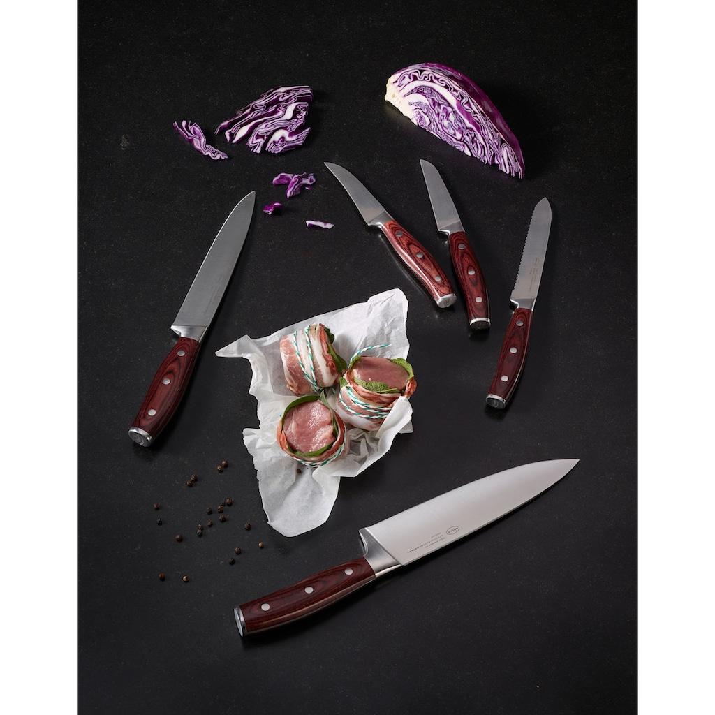 RÖSLE Allzweckmesser »Rockwood«, (1 tlg.), scharfes Küchenmesser mit Wellenschliff zum universellen Einsatz, Obst und Gemüse, Klingenspezialstahl, rotbraunes Pakkaholz