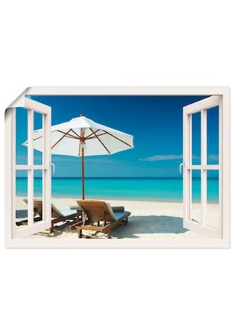 Artland Wandbild »Fensterblick - Zwei Liegestühle«, Fensterblick, (1 St.), in vielen... kaufen