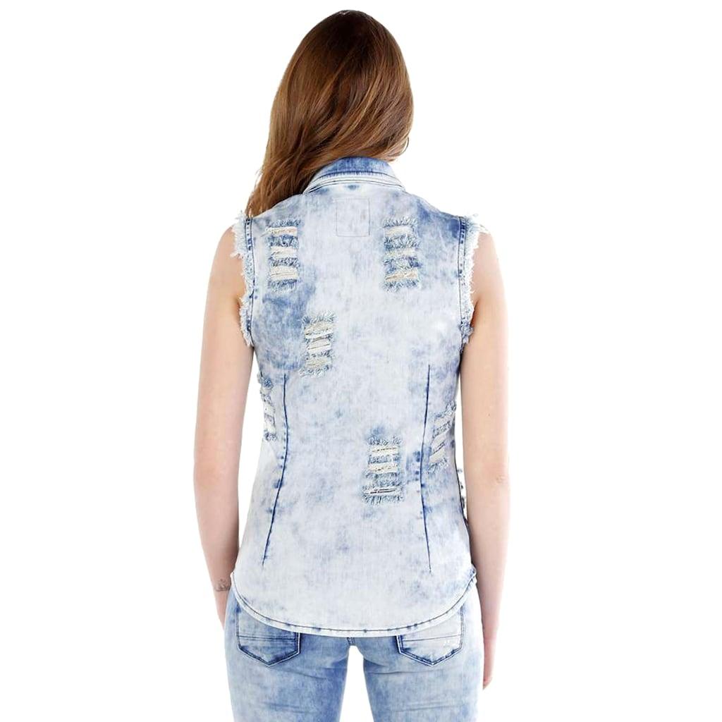 Cipo & Baxx Jeansweste, mit lässigen Used-Details