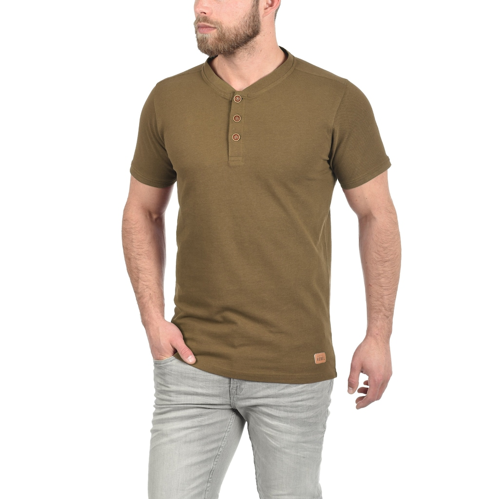 REDEFINED REBEL Rundhalsshirt »Mulligan«, Kurzarmshirt mit Knopfleiste