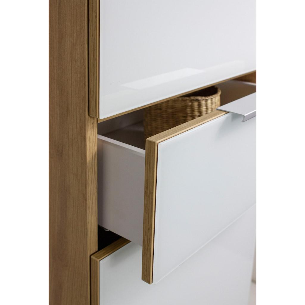 GERMANIA Badmöbel-Set »Avino«, (3 St.), Spiegelschrank inkl. LED-Beleuchtung, Glasfronten, Soft-Close-Funktion