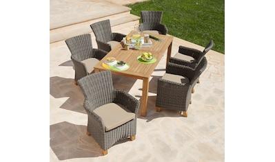 MERXX Gartenmöbelset »Toskana«, 13 - tlg., 6 Sessel, Tisch 185x90cm, Polyrattan/Akazie kaufen