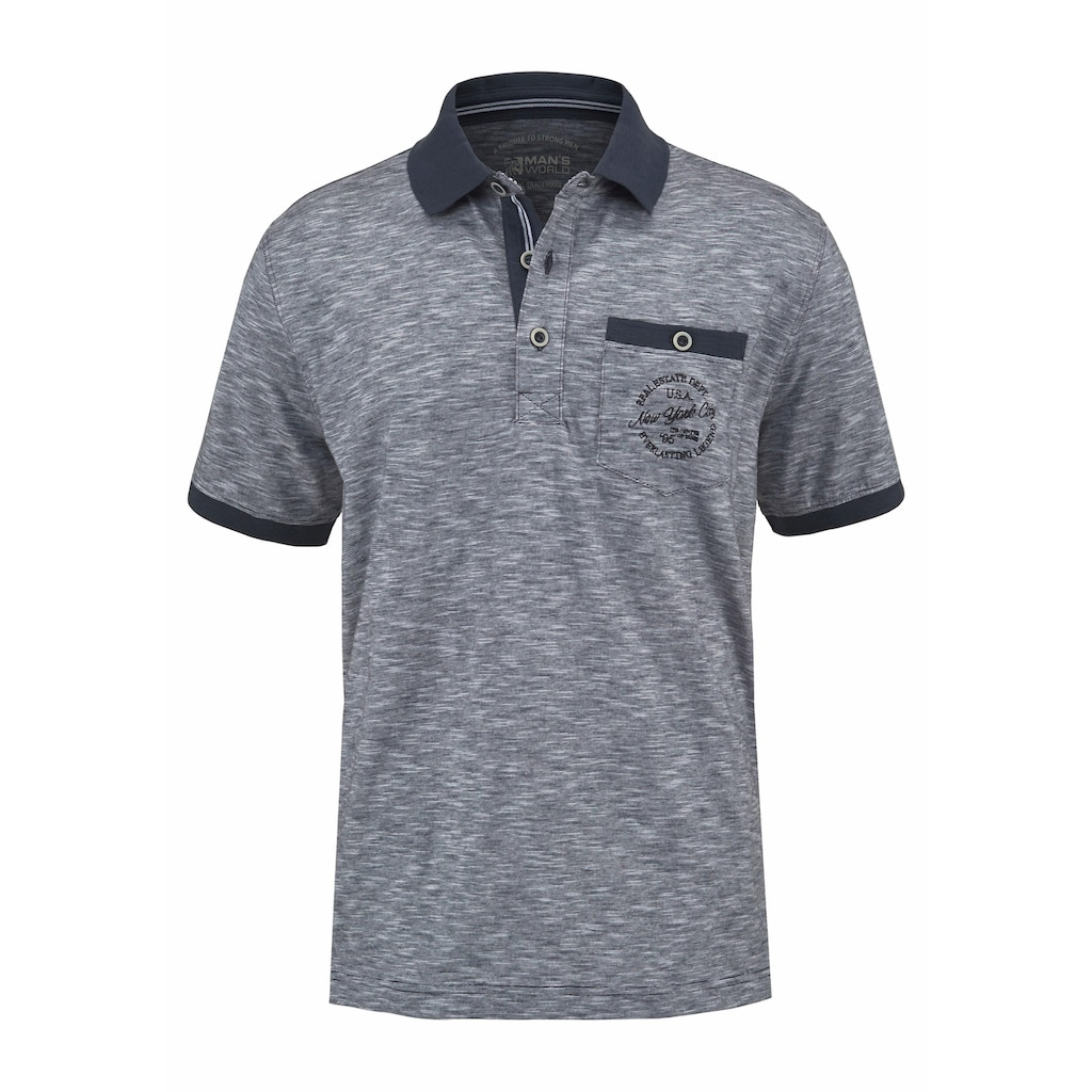 Man's World Poloshirt, in melierter Optik