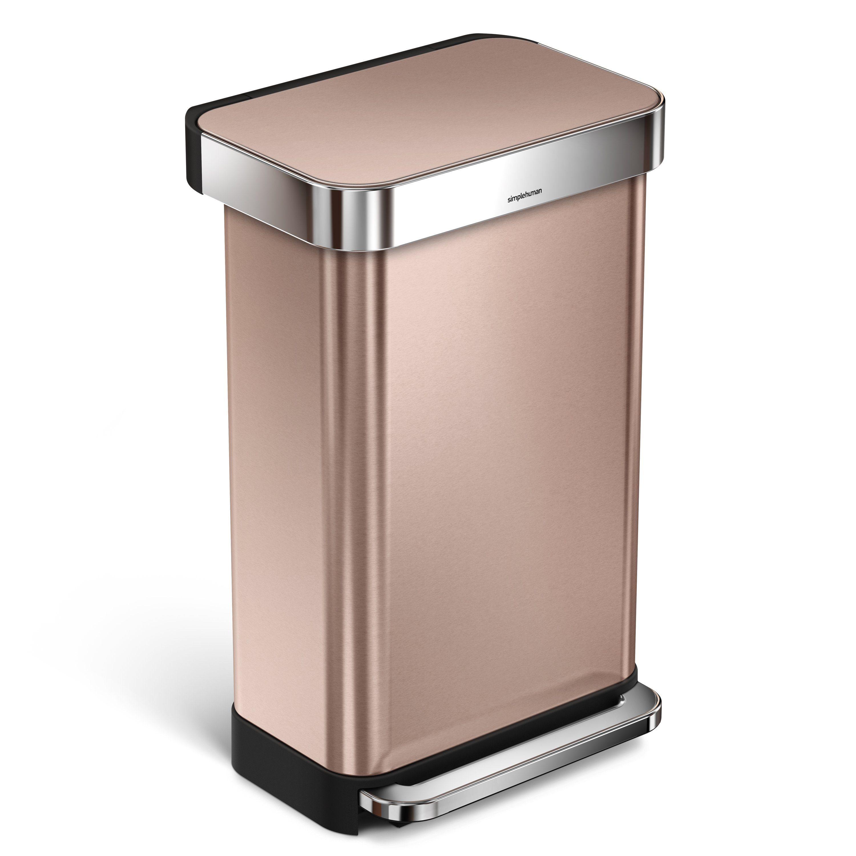 simplehuman Mülleimer 45L rechteckiger Treteimer mit Beutelfach | Küche und Esszimmer > Küchen-Zubehör > Mülleimer | Goldfarben | Simplehuman