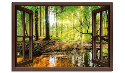 Artland Wandbild »Fensterblick - Wald mit Bach«, Wald, (1 St.), in vielen Größen &... kaufen