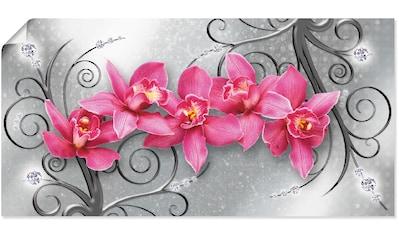 Artland Wandbild »rosa Orchideen auf Ornamenten«, Blumenbilder, (1 St.), in vielen... kaufen
