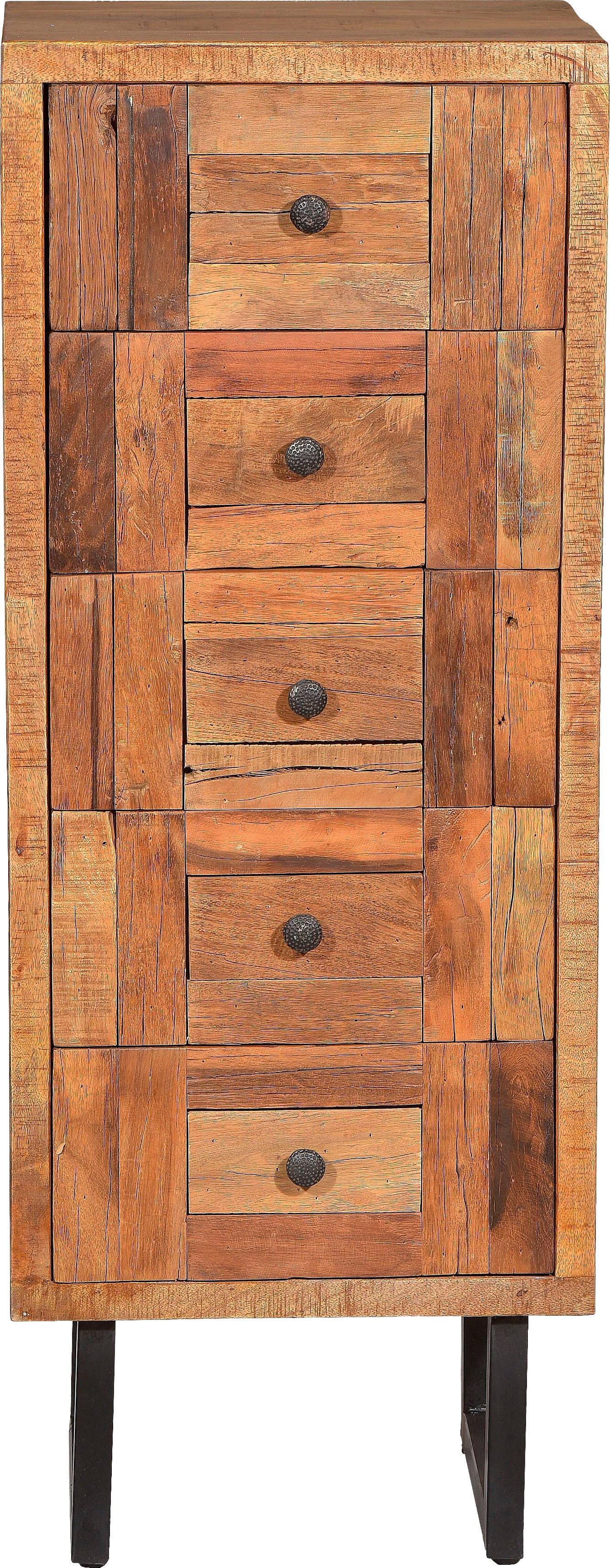 SIT Kommode Parquett, aus recyceltem Teakholz, Breite 45 cm beige Schubladenkommoden Kommoden Sideboards