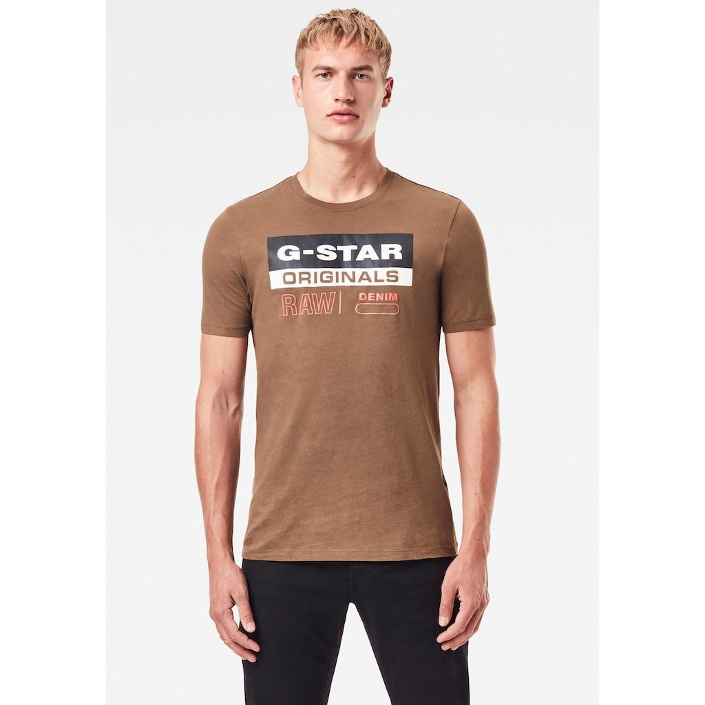G-Star RAW Rundhalsshirt »Originals Label Logo Slim Tee«