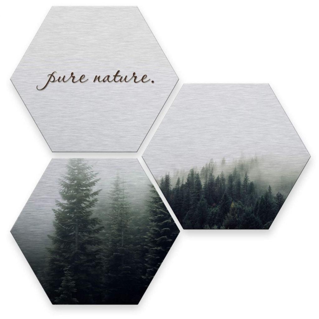 Wall-Art Mehrteilige Bilder »Silber Effekt Pure Nature Wald«, (Set, 3 St.)