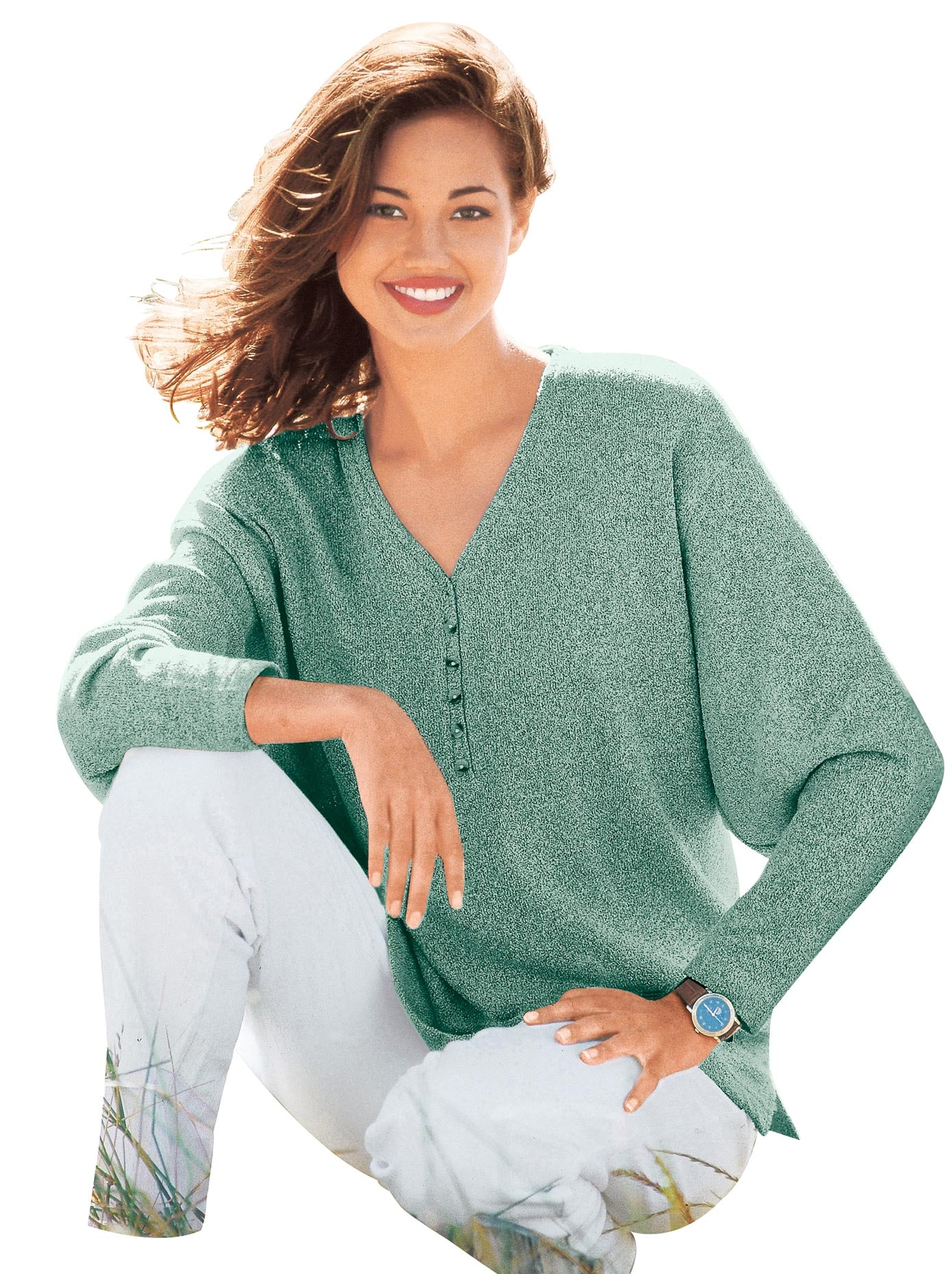 Classic Basics V-Pullover mit kleiner Knopfleiste und Seitenschlitzen | Bekleidung > Pullover > V-Pullover | Classic Basics