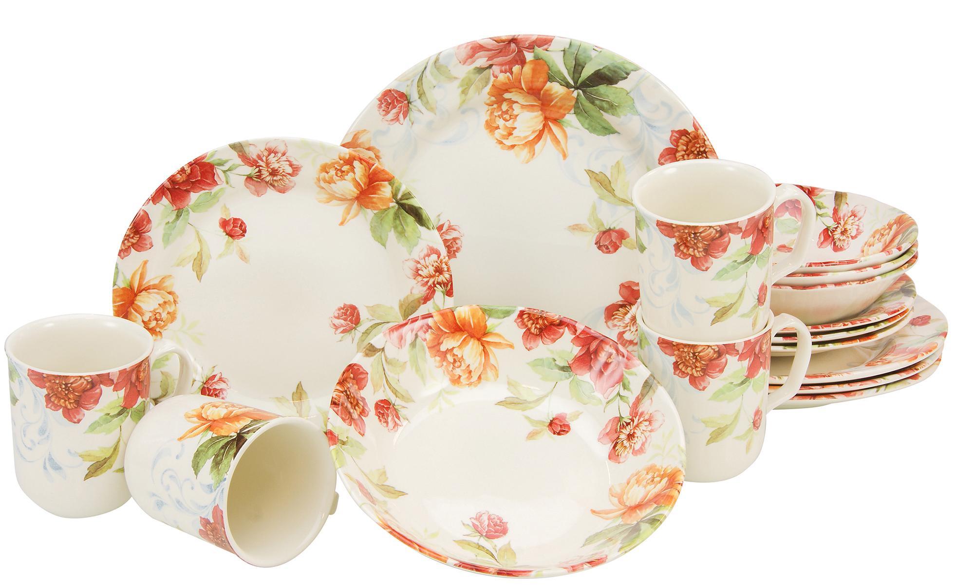 CreaTable Kombiservice Modern Floral, (Set, 16 tlg.), oppulentes Rosendekor bunt Geschirr-Sets Geschirr, Porzellan Tischaccessoires Haushaltswaren