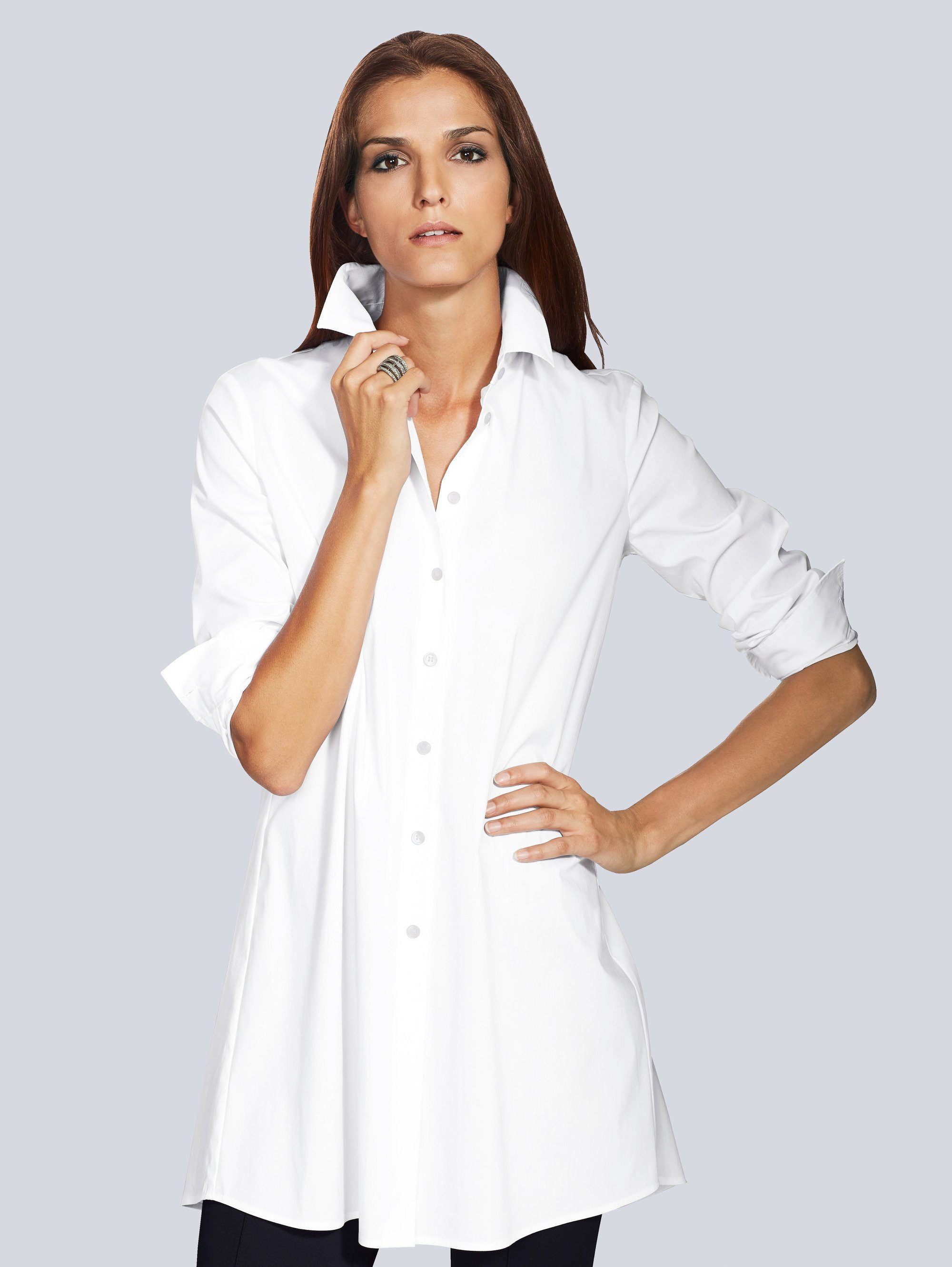 Alba Moda Longbluse in bügelleichter Stretch-Qualität
