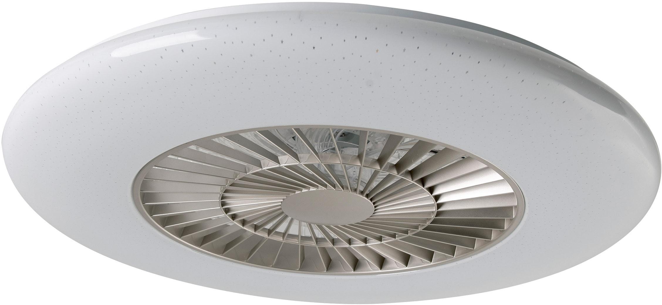 näve LED Deckenleuchte Ventura, LED-Board, Warmweiß-Neutralweiß-Kaltweiß-Farbwechsler, Deckenventilator, 6 Geschwindigkeitsstufen, Fernbedienung, Decken Ventilator mit Leuchte Lampe Durchmesser 59 cm