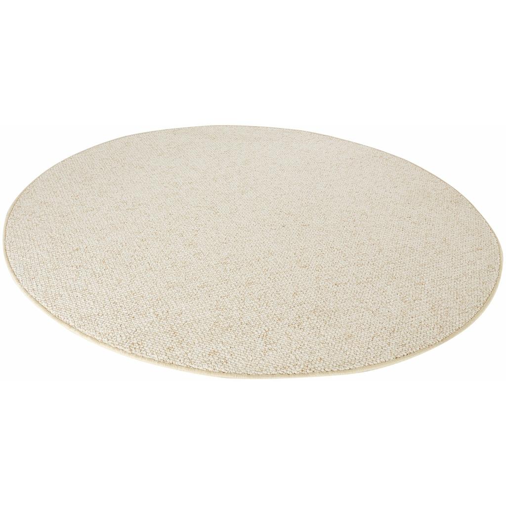 BT Carpet Teppich »Wolly 2«, rund, 12 mm Höhe, Woll-Optik, Hoch-Tief-Effekt, Wohnzimmer