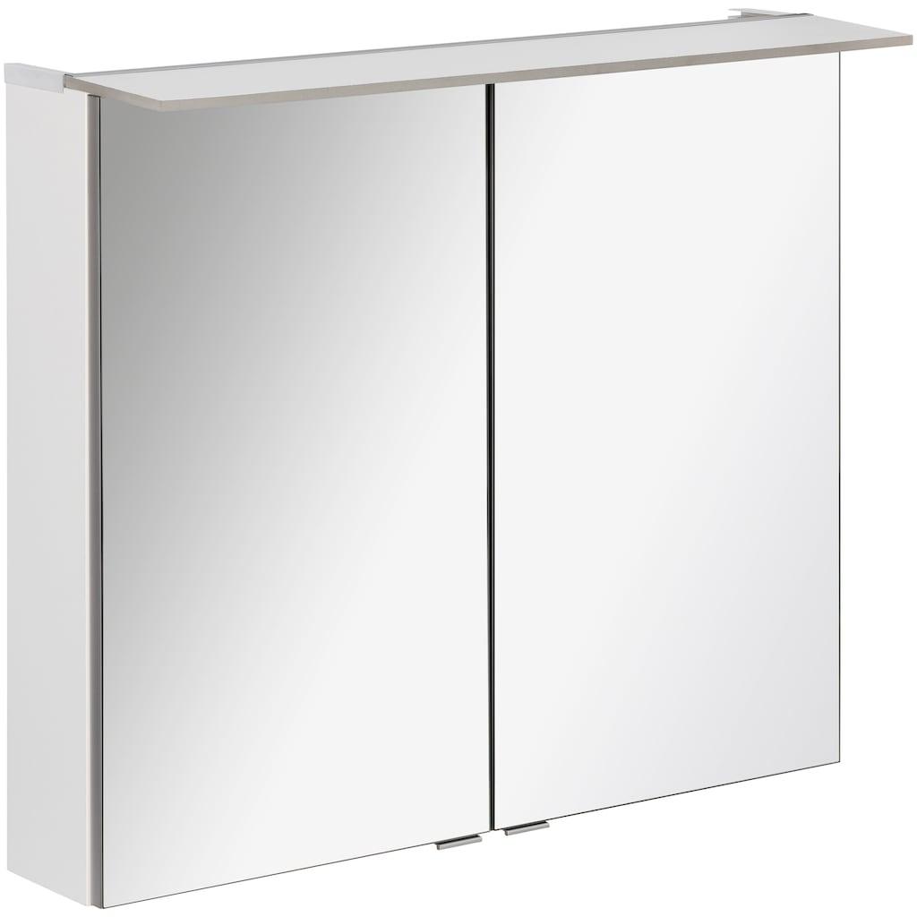FACKELMANN Spiegelschrank »PE 80 - weiß«, Breite 80 cm, LED-Badspiegelschrank mit 2 Türen doppelseitig verspiegelt
