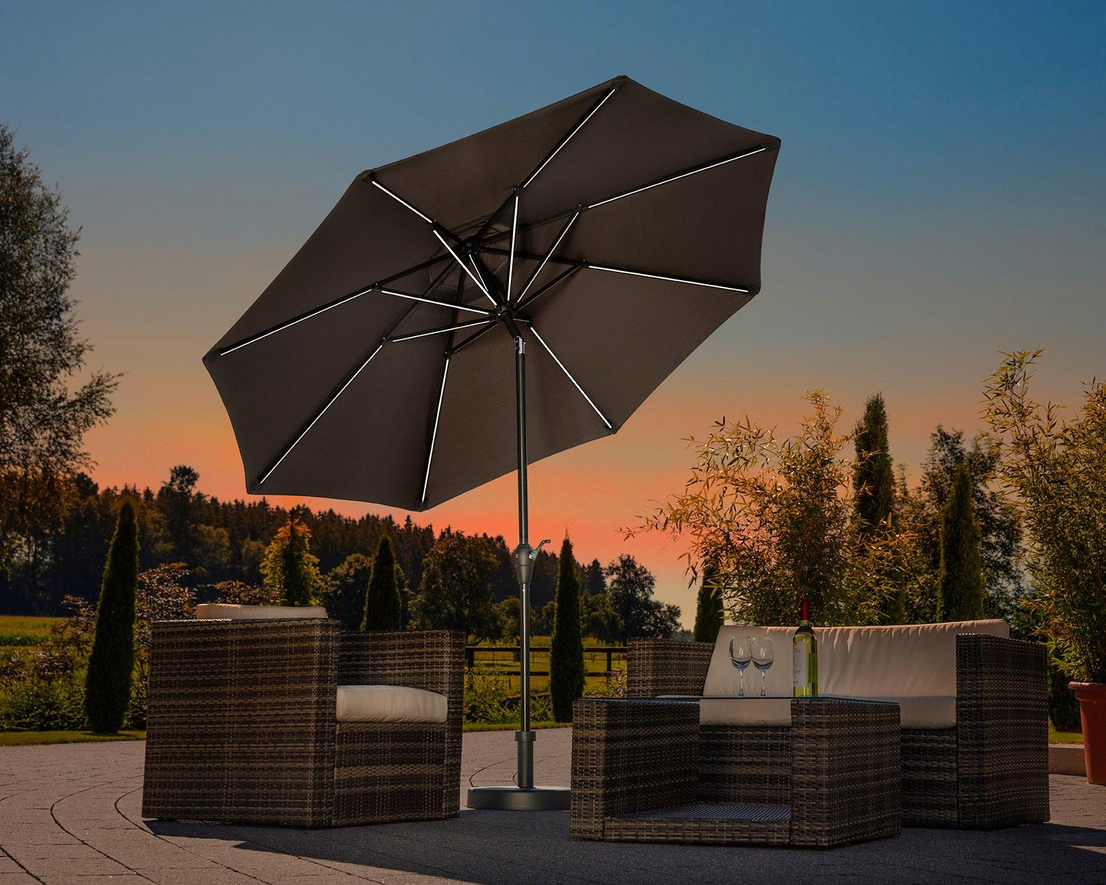 Schneider Schirme Sonnenschirm Blacklight it, ohne Schirmständer grau Sonnenschirme -segel Gartenmöbel Gartendeko