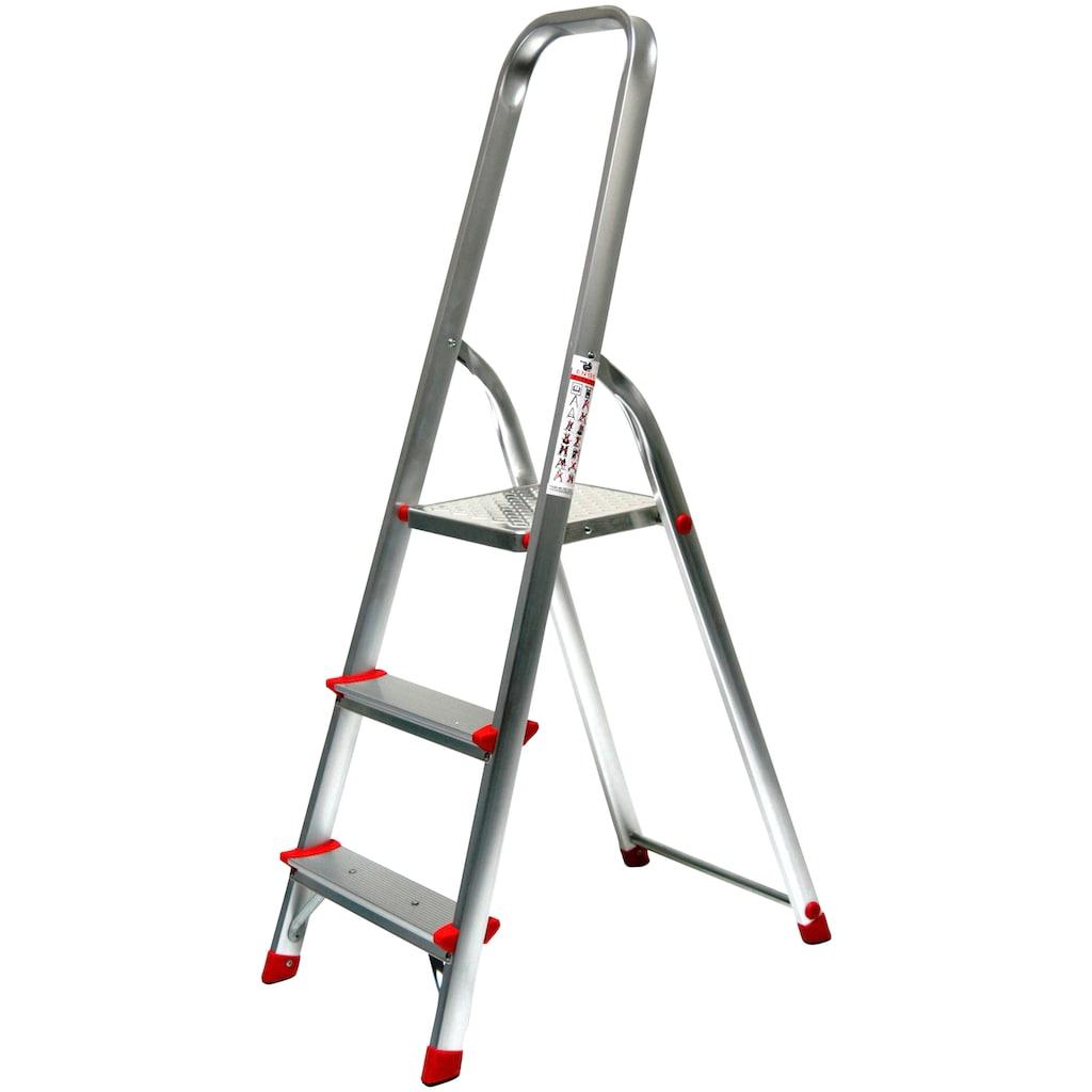 SZ METALL Stehleiter, Aluminium, 2,61 m, 3-stufig