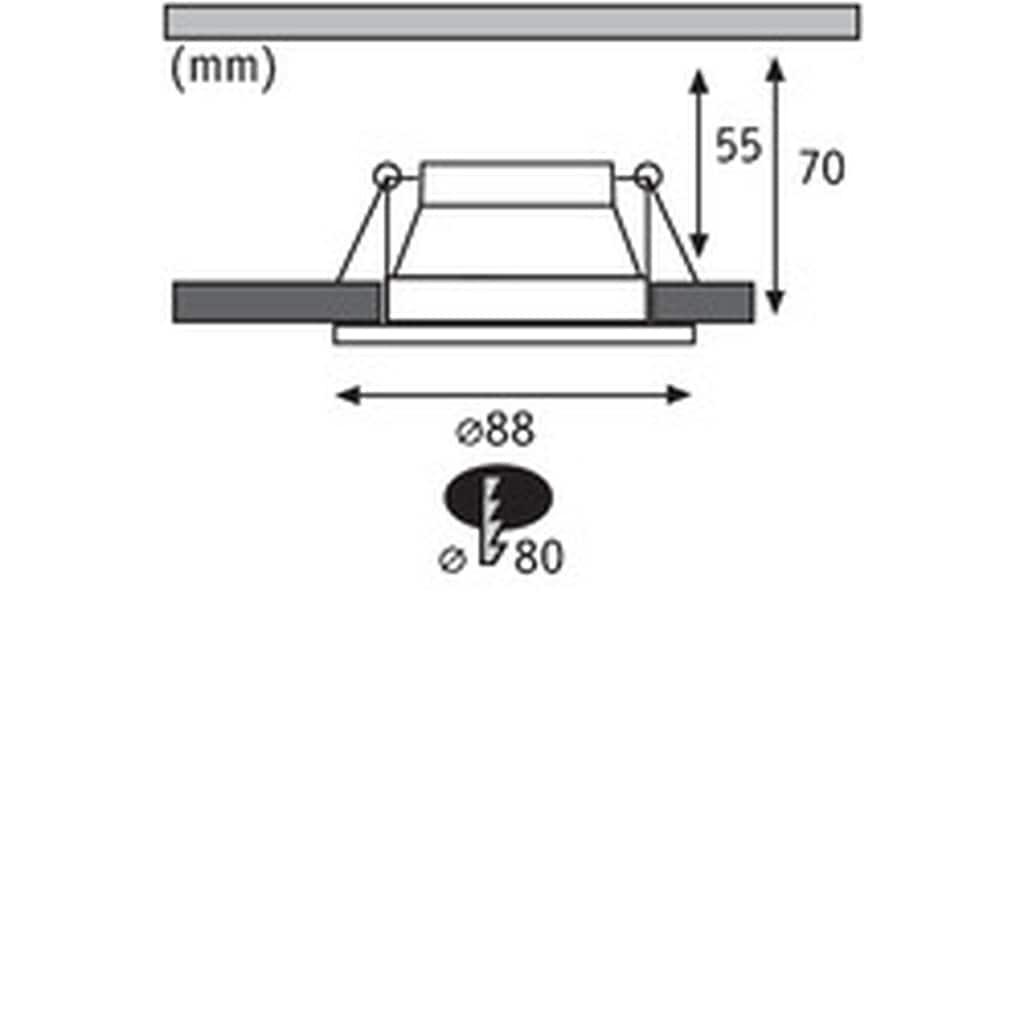 Paulmann LED Einbaustrahler »Cole 6,5W Weiß/Schwarz matt 3-Stufen-dimmbar 2700K Warmweiß«, Warmweiß