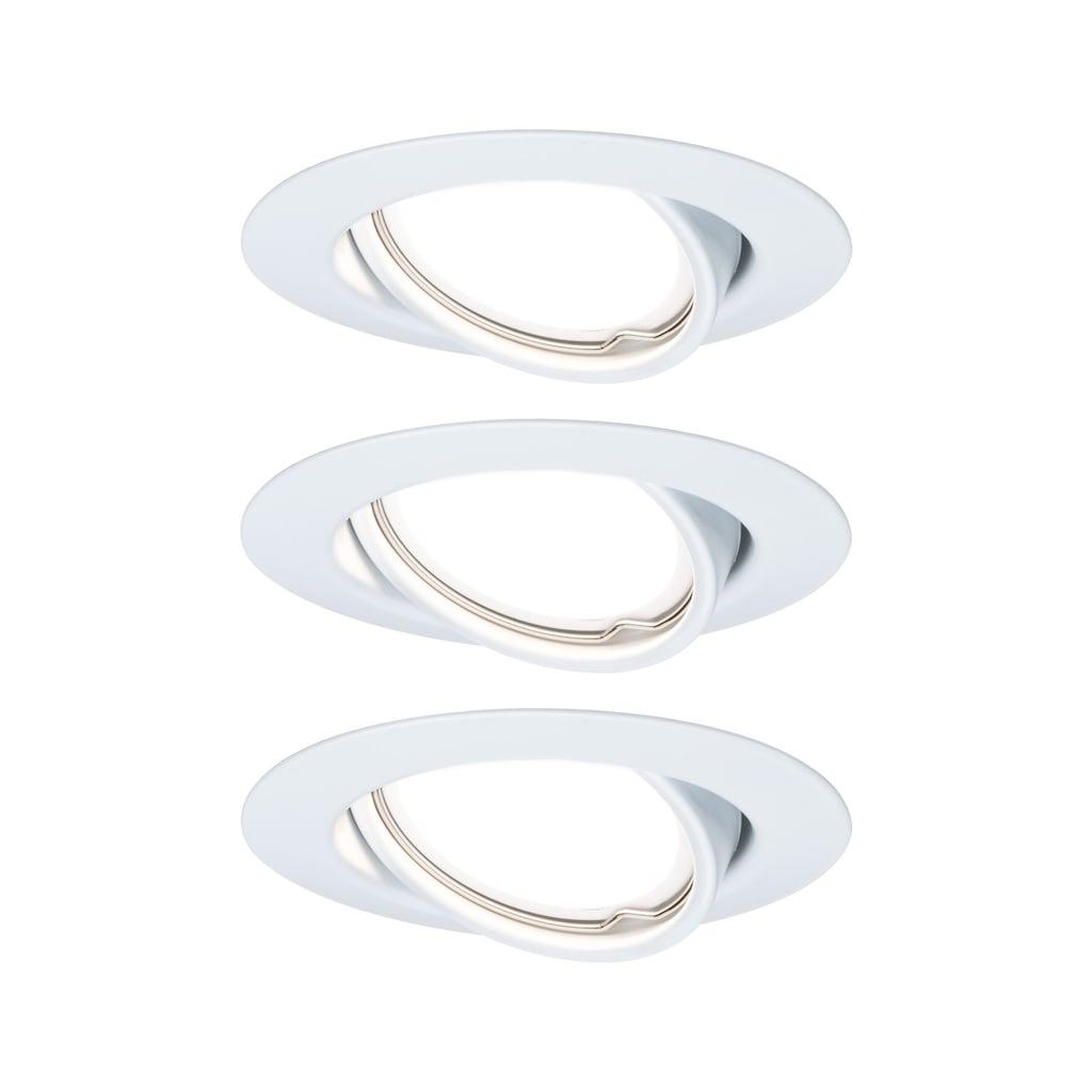Paulmann LED Einbaustrahler »Base rund 3x5W GU10 Weiß matt schwenkbar«, GU10, 3 St., Warmweiß