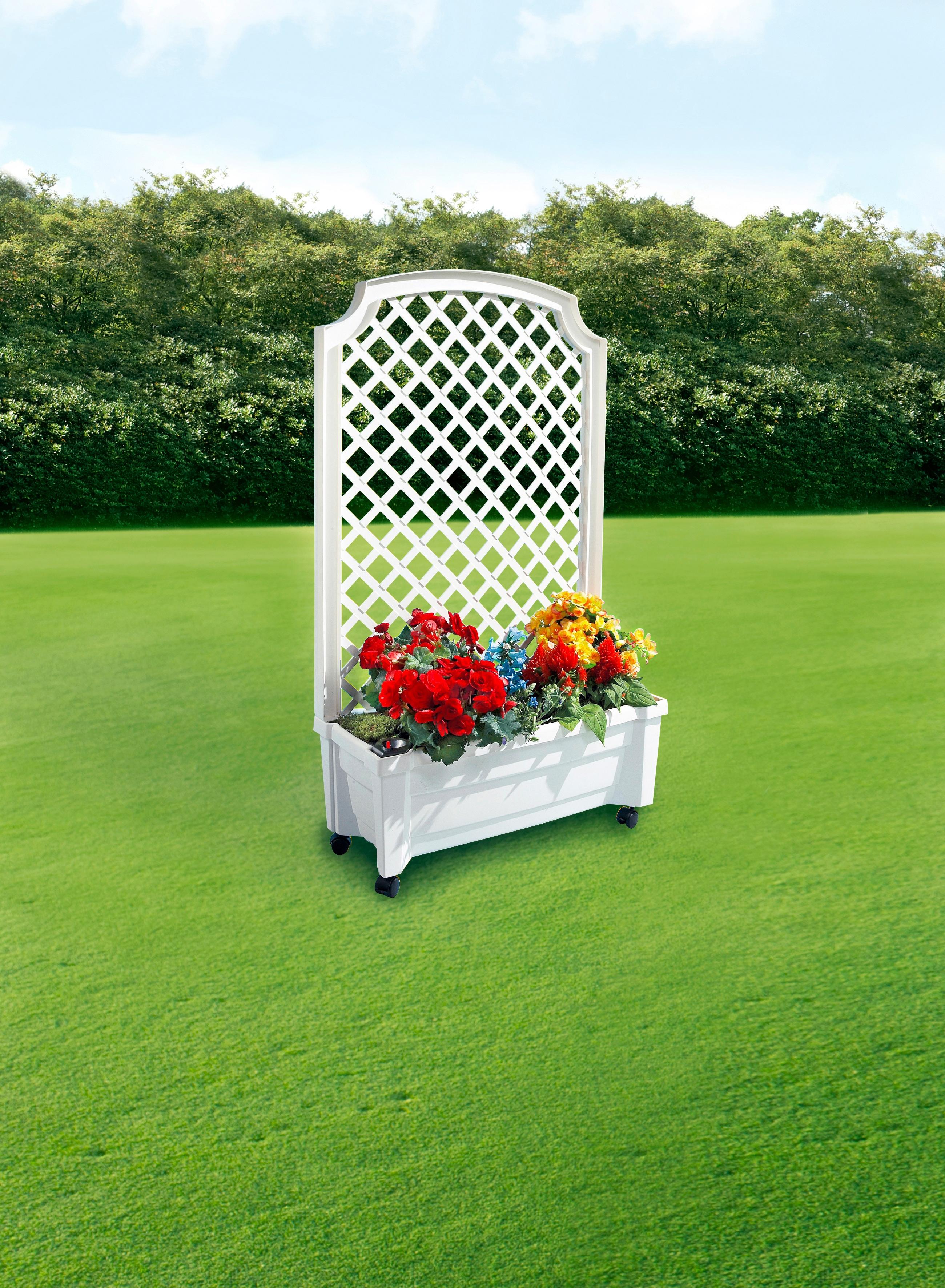 KHW Spalier, mit Pflanzkasten, BxTxH: 79x35x134 cm weiß Spaliere Gartendekoration Gartenmöbel Gartendeko Spalier