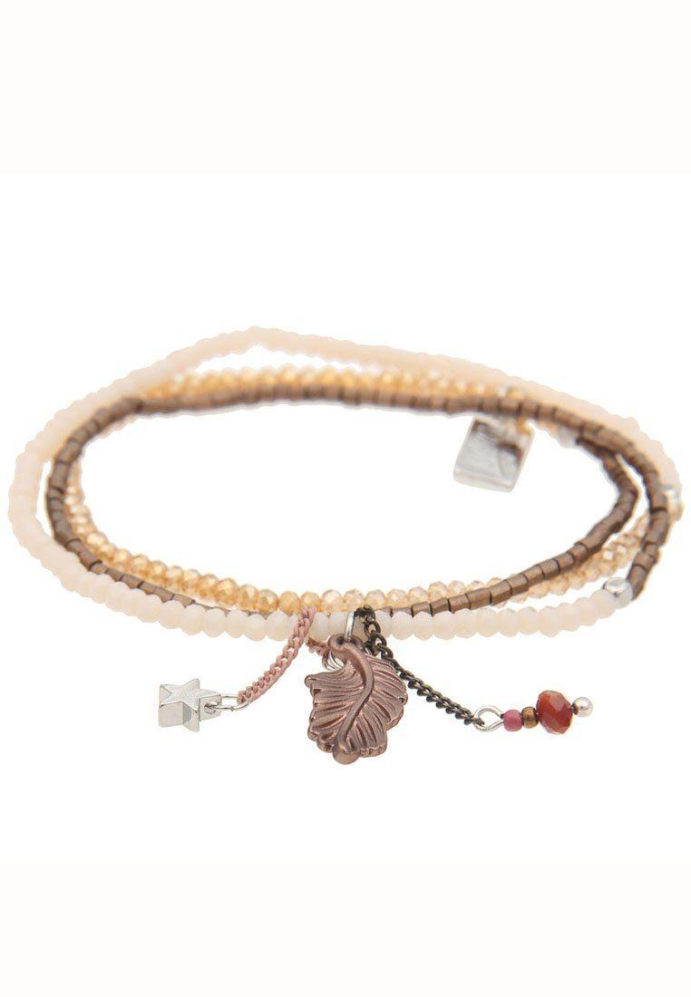leslii Wickelarmband, mit Feder- und Stern-Anhänger silberfarben Damen Wickelarmband Perlenarmbänder Armbänder Schmuck 4250980315052