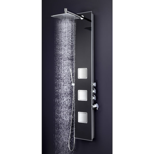 WELLTIME Duschsäule »Glassy Black«, Regendusche mit Wellnessfunktion, 132x28 cm
