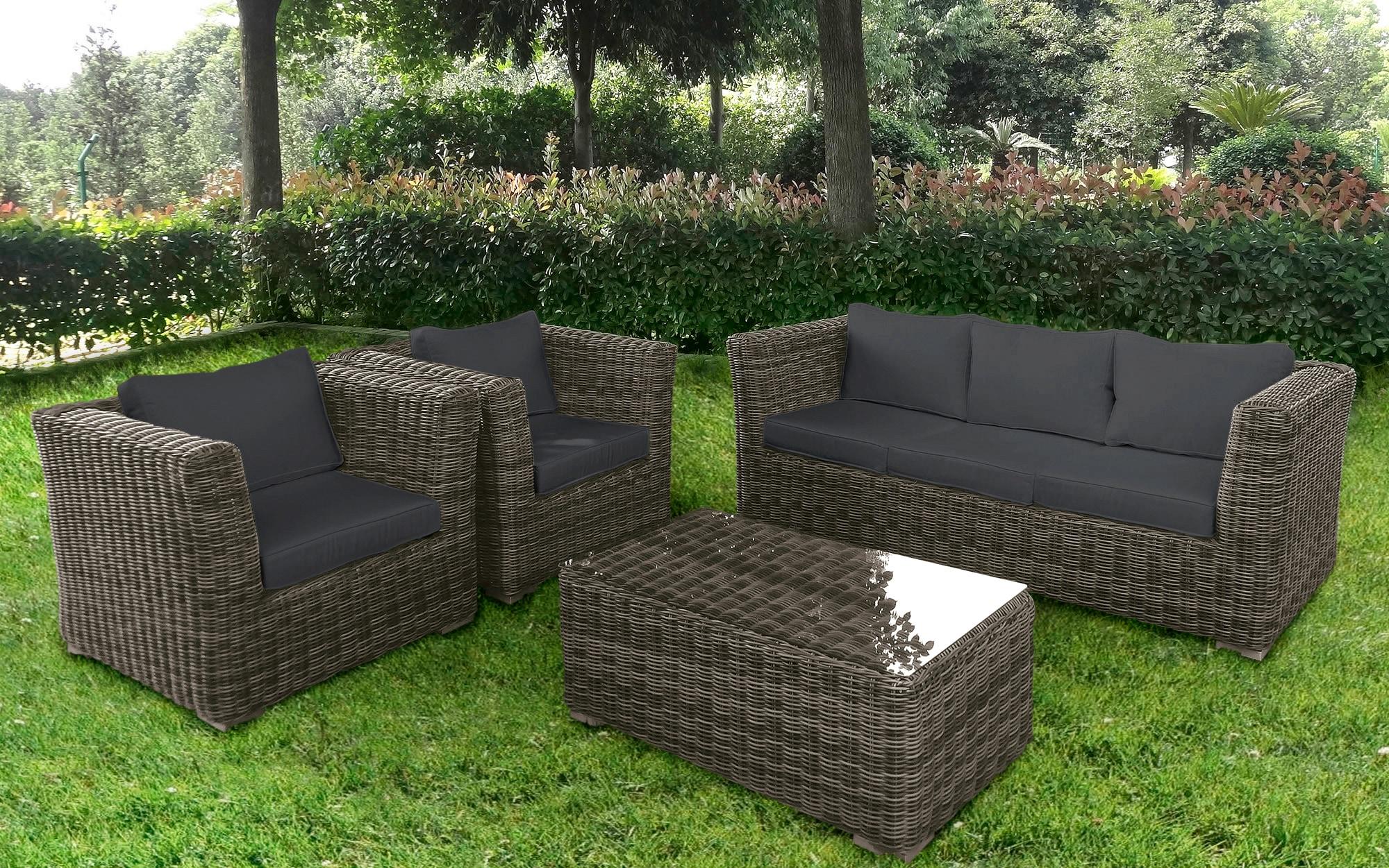 BAIDANI Loungeset Funky 14-tlg 2 Sessel 3-Sitzer Tisch 58x100 cm Polyrattan