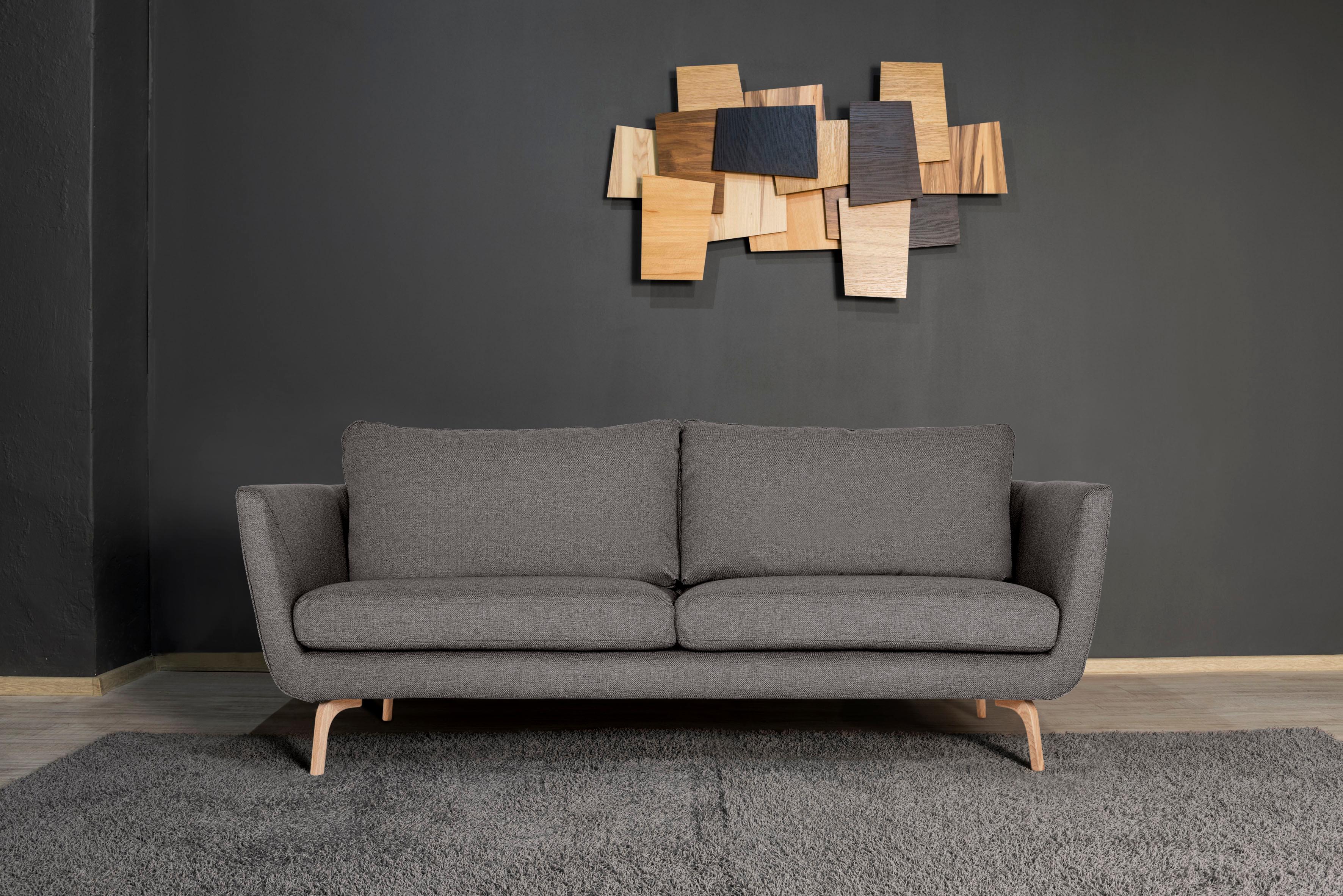 andas 3-Sitzer »Odense« mit Holzfüßen und losen Rückenkissen