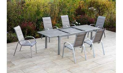 MERXX Gartenmöbelset »Amalfi di lusso«, (7 tlg.), 6 Stapelsessel mit ausziehbarem Tisch kaufen