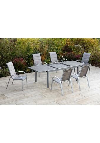 MERXX Gartenmöbelset »Amalfi di lusso«, (8 tlg.), 7 Stapelsessel mit ausziehbarem Tisch kaufen