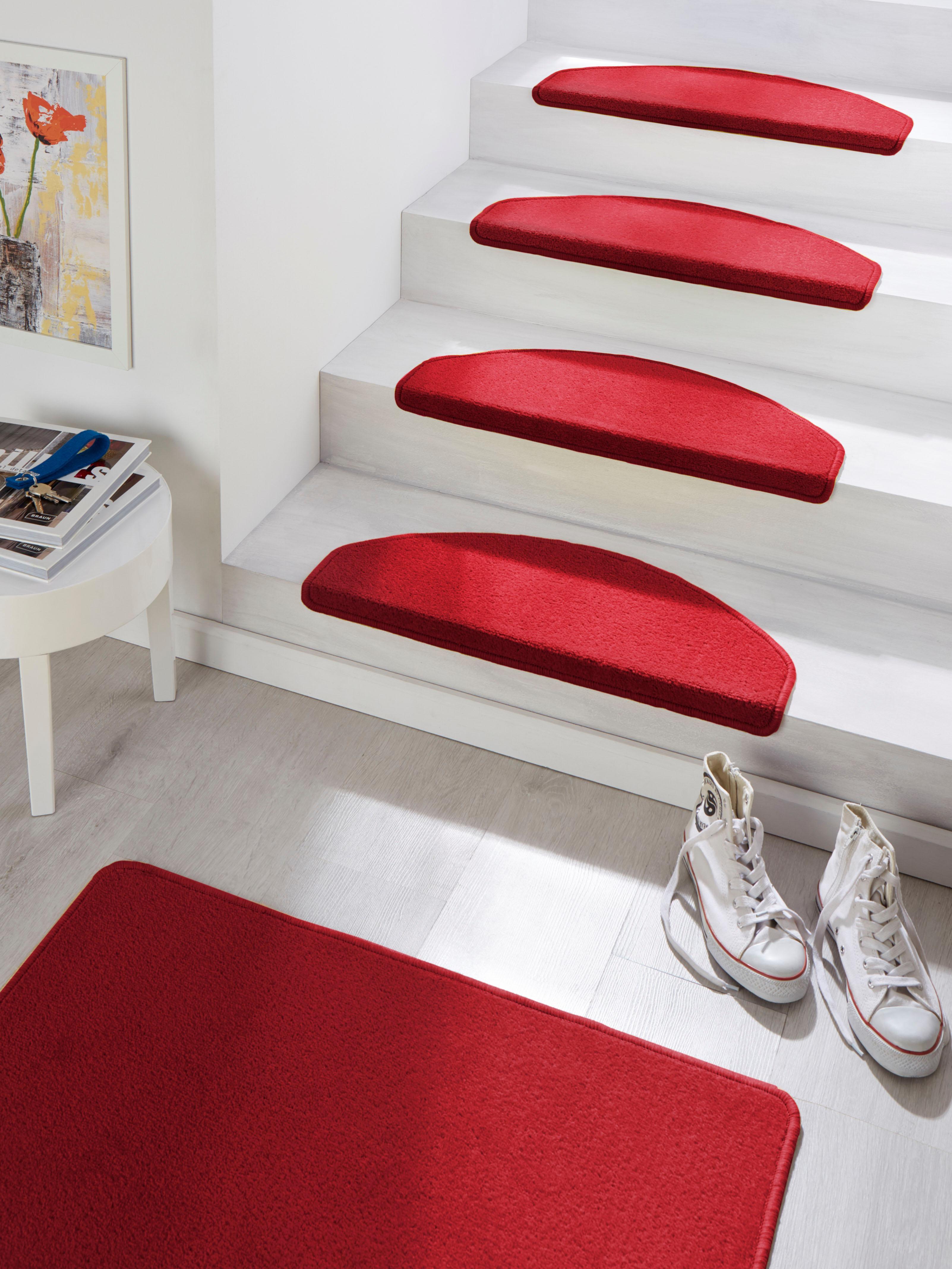 HANSE Home Stufenmatte Fancy, halbrund, 7 mm Höhe, große Farbauswahl, 15 Stück in einem Set rot Stufenmatten Teppiche