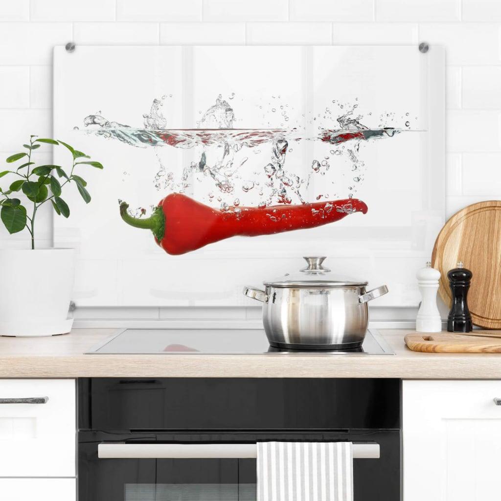 Wall-Art Herd-Abdeckplatte »Spritzschutz Küche Chilischote«, (1 tlg.)
