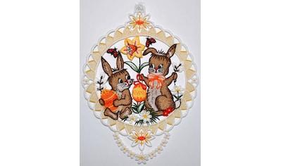 Stickereien Plauen Fensterbild »Fensterbild Hasenpärchen«, Echte Plauener Spitze kaufen
