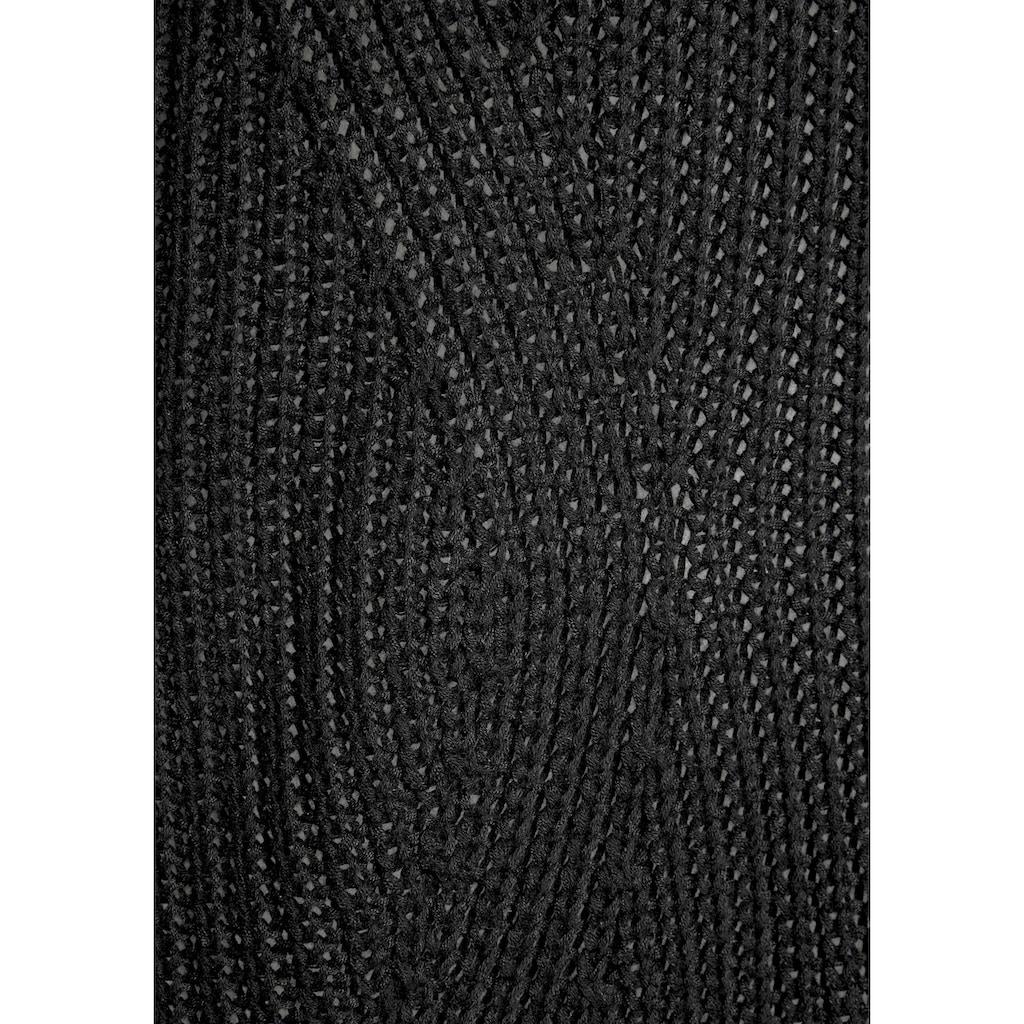 LASCANA Strickpullover, mit offen gestrickten Zopfmuster hinten