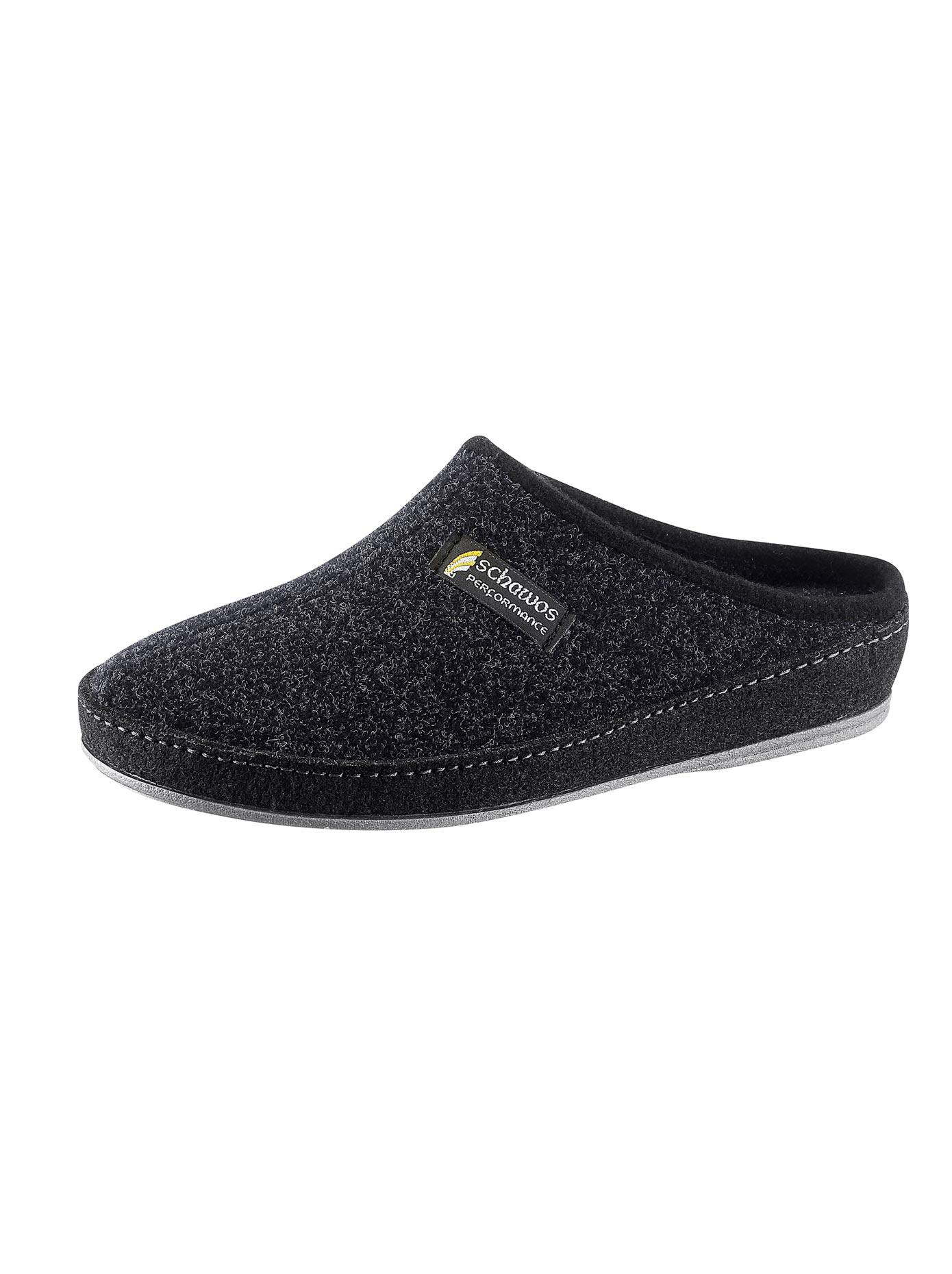 Schawos Pantoffel mit rutschhemmender Synthetik-Laufsohle | Schuhe > Hausschuhe > Pantoffeln | Schwarz | Classic