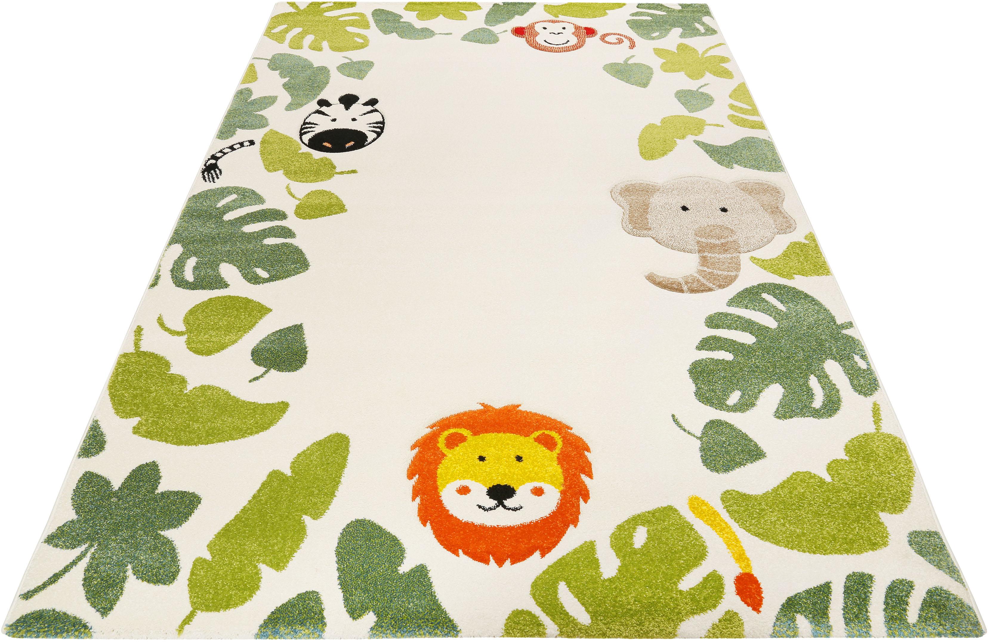 Esprit Kinderteppich E-Safari, rechteckig, 13 mm Höhe, Motiv Dschungel Tiere weiß Kinder Bunte Kinderteppiche Teppiche