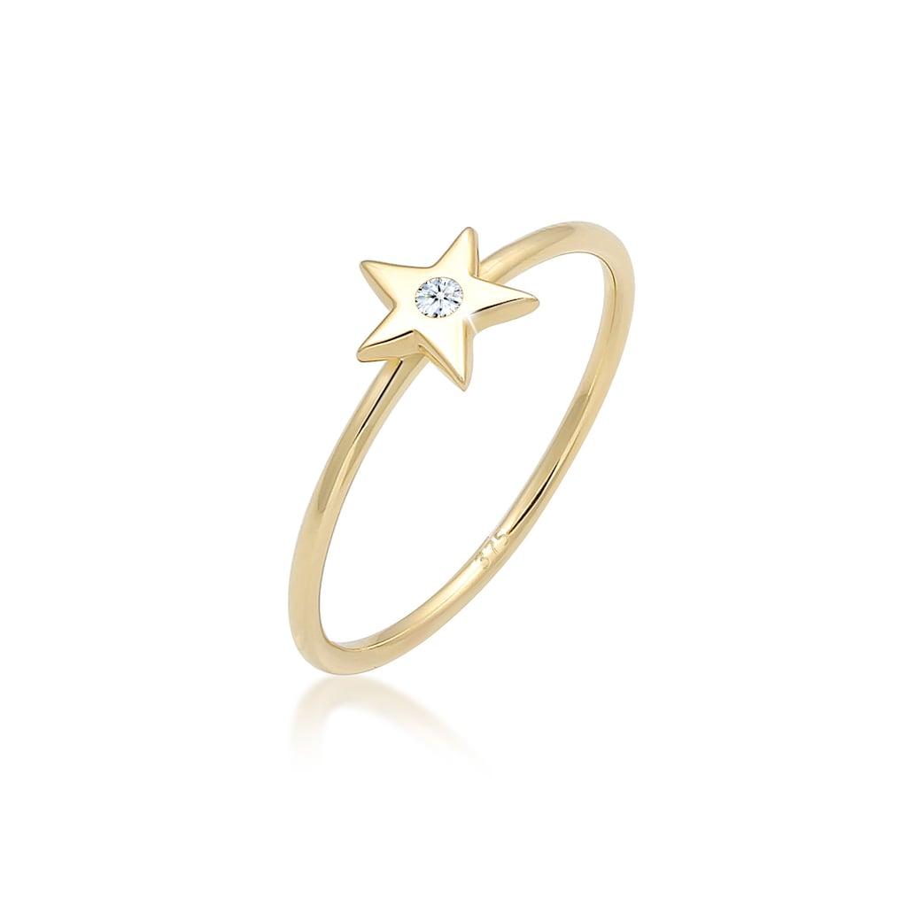 Elli Diamantring »Bandring Stern Astro Diamant (0.015ct)375 Gelbgold«
