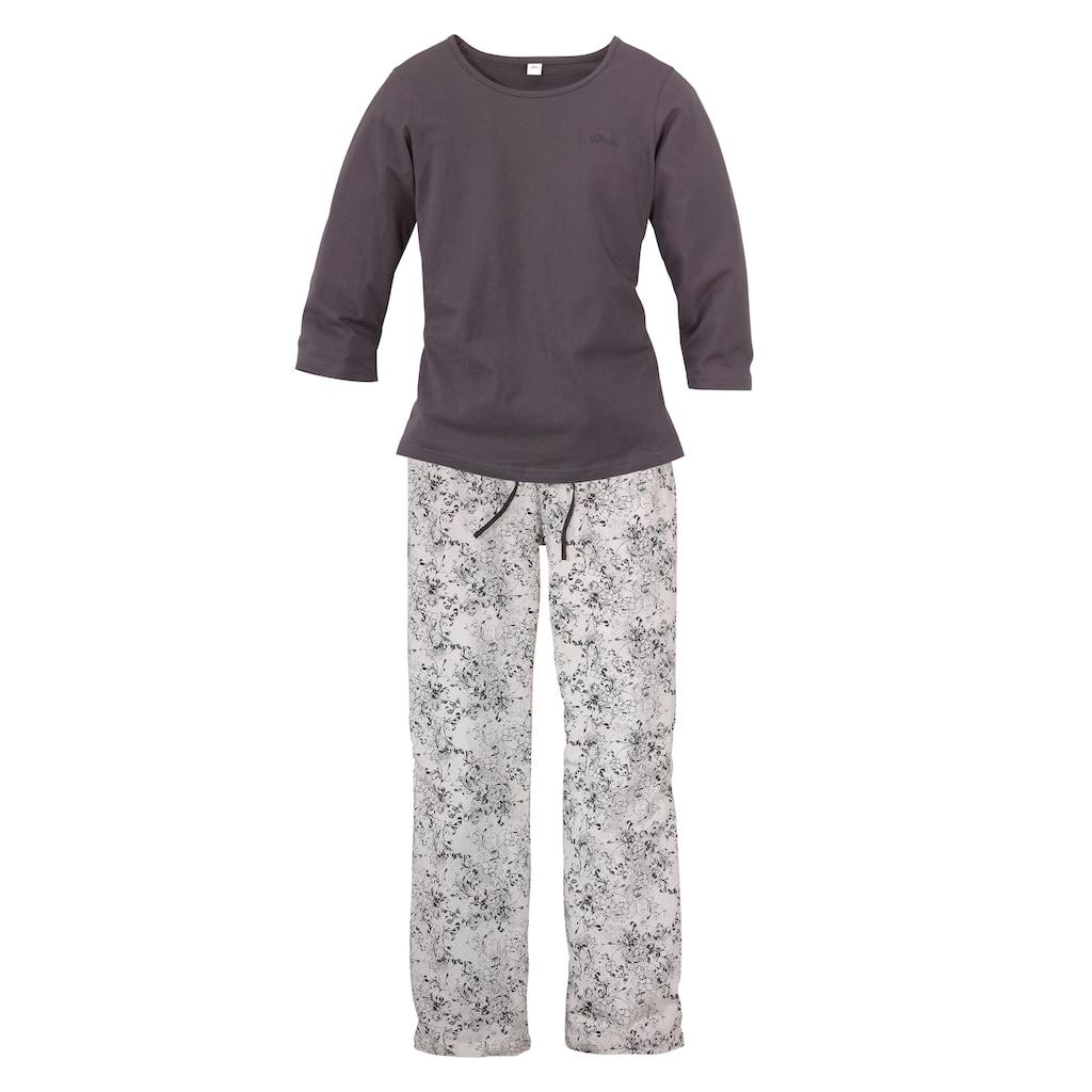 s.Oliver Bodywear Pyjama, mit feinem Blumenmuster