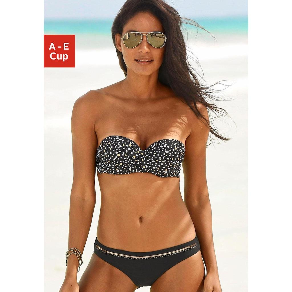 LASCANA Bandeau-Bikini-Top »Ella«, im Punktedesign und goldfarbigen Glanzdruck