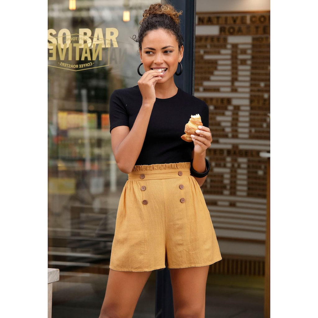 LASCANA Shorts, im Paperbag-Look