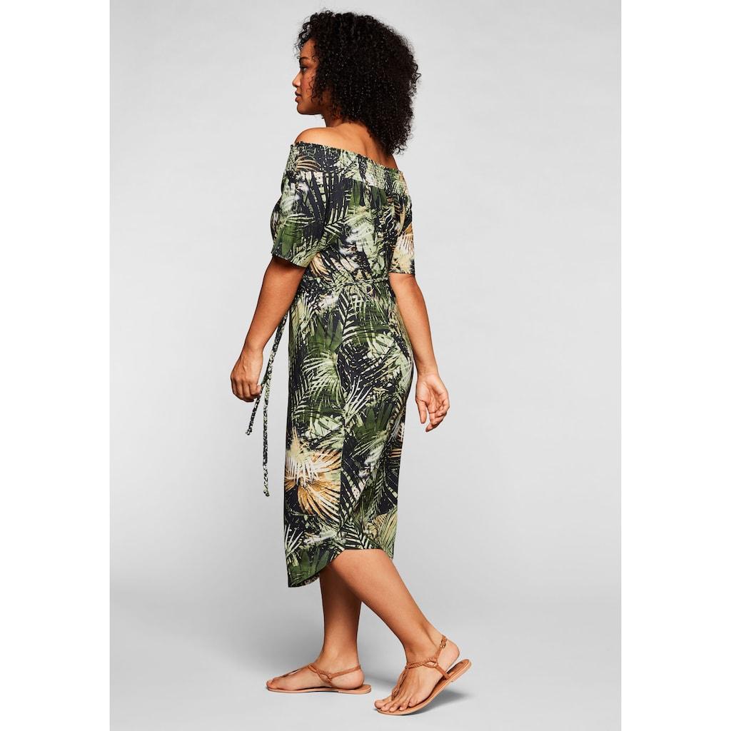 Sheego Strandkleid, mit Bindeband und Carmenausschnitt
