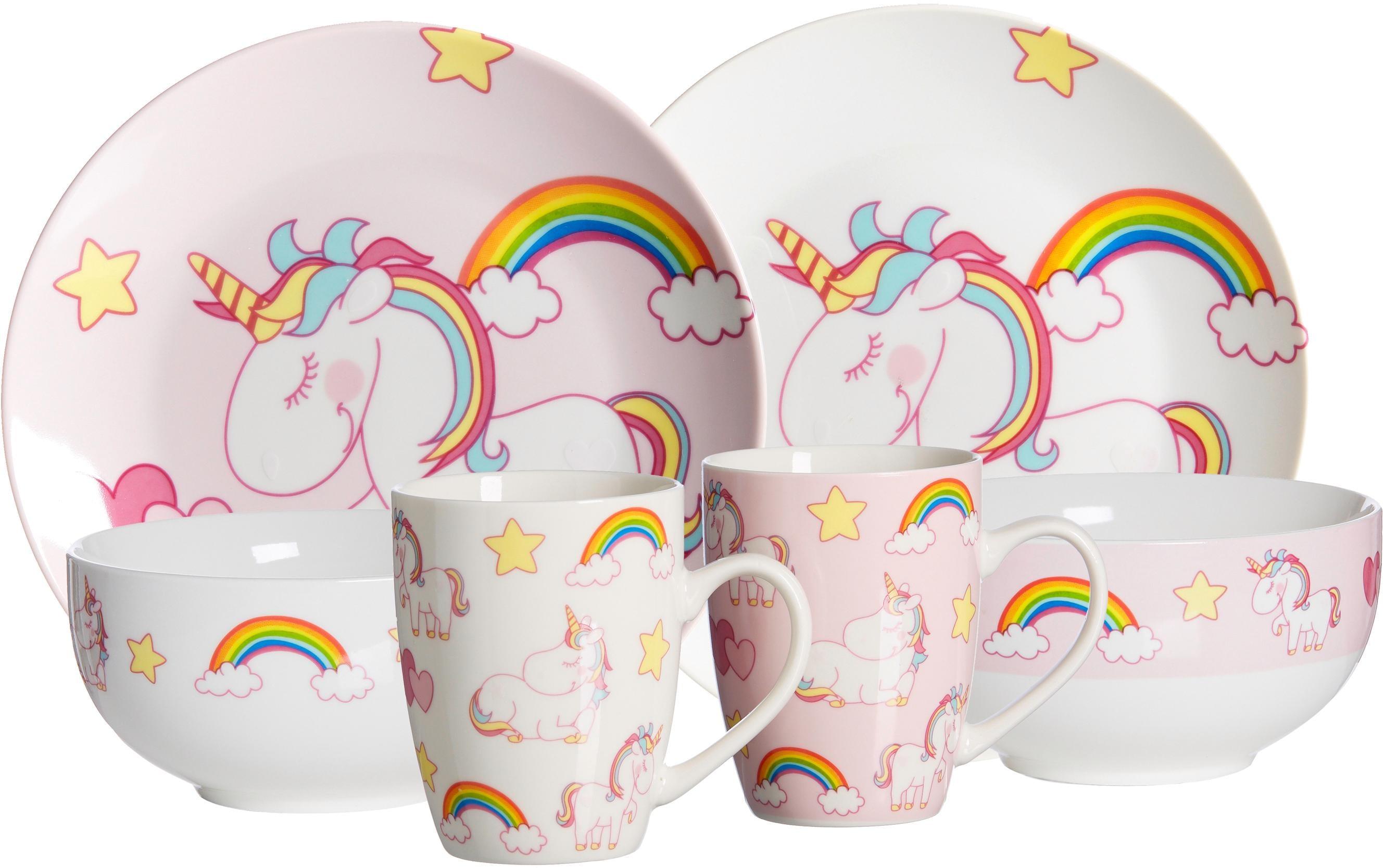 Ritzenhoff & Breker Kindergeschirr-Set Unicorn, (6 tlg.) bunt Kinder Kindergeschirr Geschirr, Porzellan Tischaccessoires Haushaltswaren