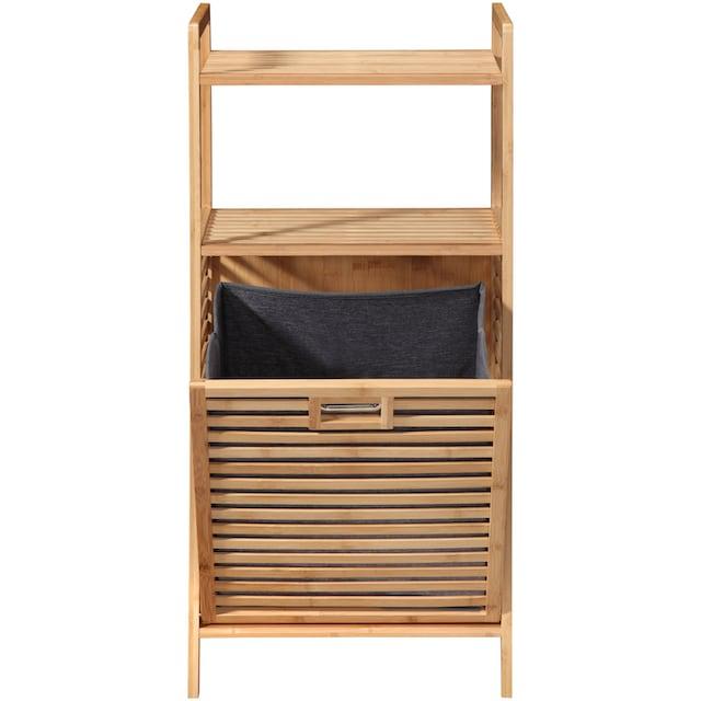 WELLTIME Ausziehwäschekorb »Panama«, mit Ablage, Regal und Wäschesammler aus Bambus