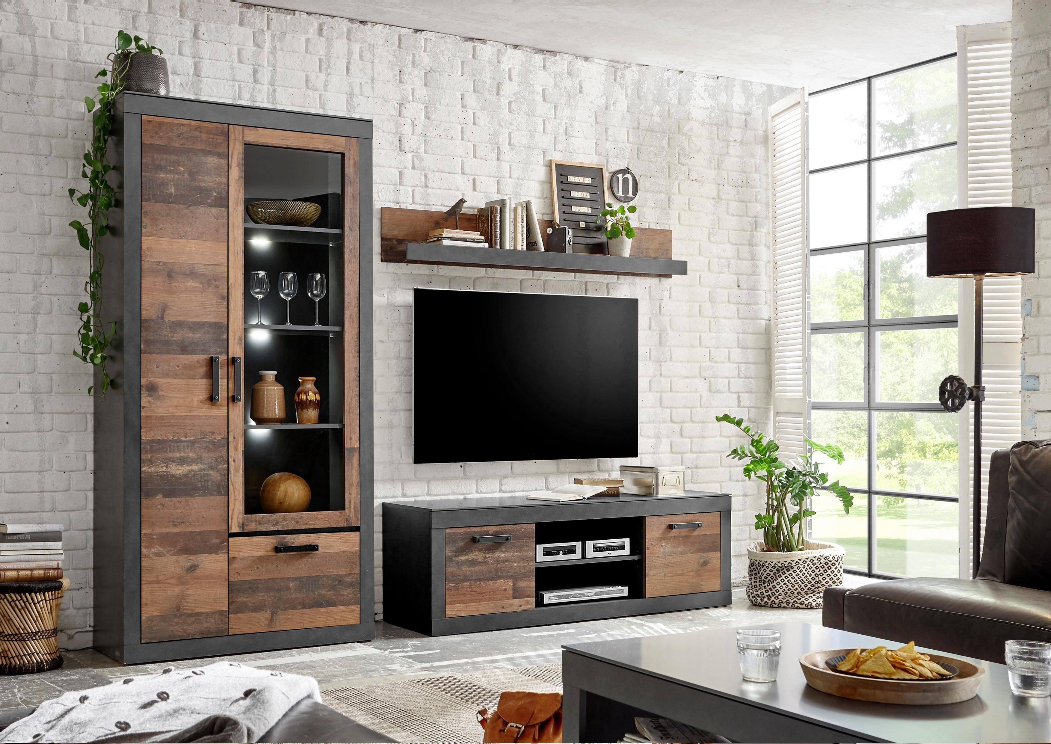 Home affaire Wohnwand BROOKLYN, (3 tlg.), in dekorativer Rahmenoptik günstig online kaufen