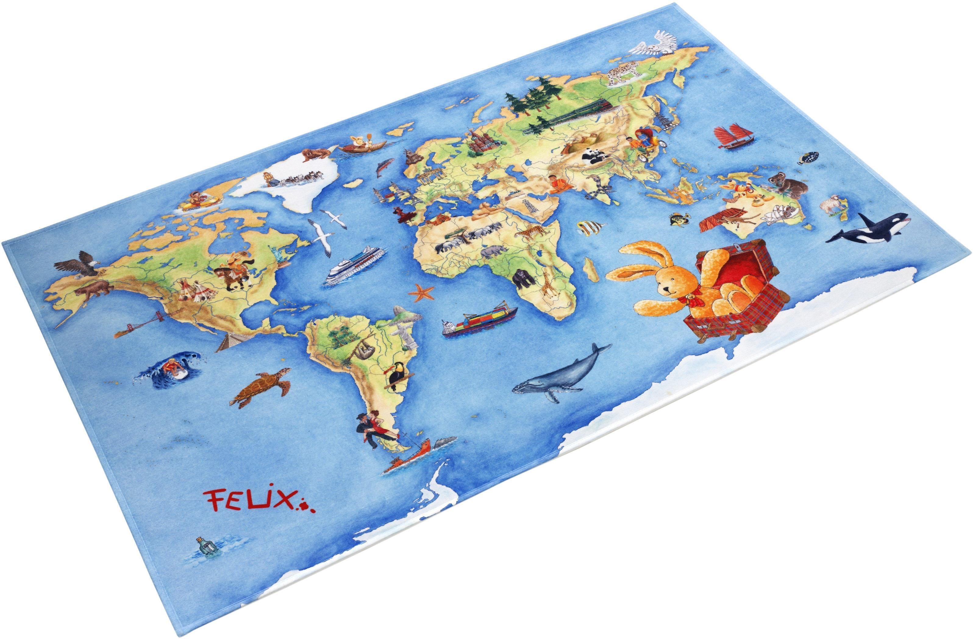 Kinderteppich FE-410 Felix der Hase rechteckig Höhe 6 mm gedruckt